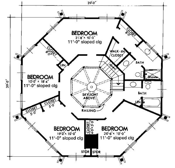 delightful octagon house floor plans #1: Octagon house - Upper/Second Floor Plan
