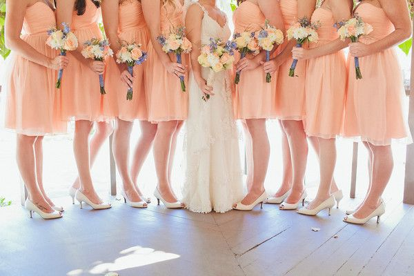 A real Donna Morgan wedding featuring one of our most popular colors- peach fuzz! #wedding