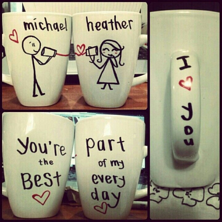 made his & her mugs for the boyfriend & I. :)