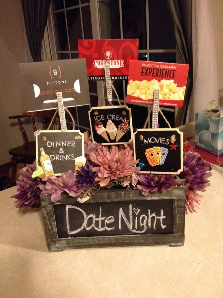 Date Night Gift For Wedding : about Gift Baskets on Pinterest Creative gift baskets, Holiday gift ...