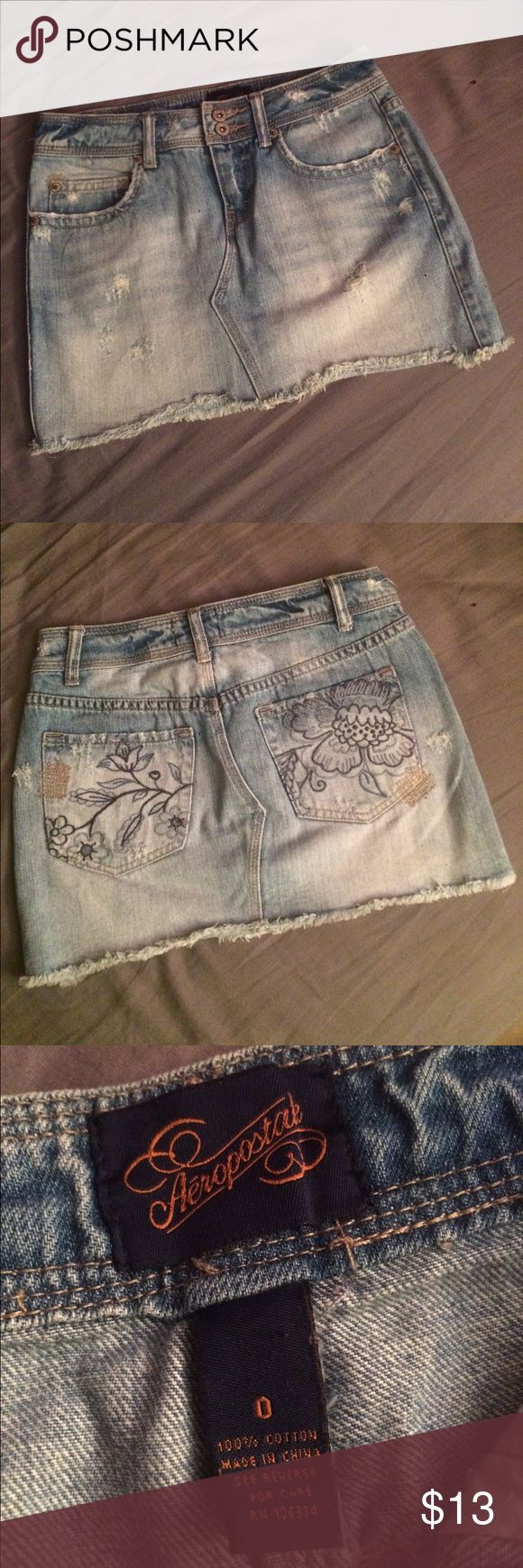 Distressed Denim Miniskirt Distressed denim miniskirt from Aeropostale. 100% cotton. Embroidered back pockets. Like new, no stains. I don't actually remember ever wearing this, it's too small on me. Make an offer. Aeropostale Skirts Mini