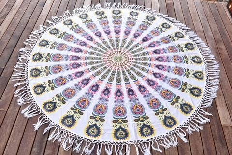 Harmony Butterfly Mandala Beach Round Throw