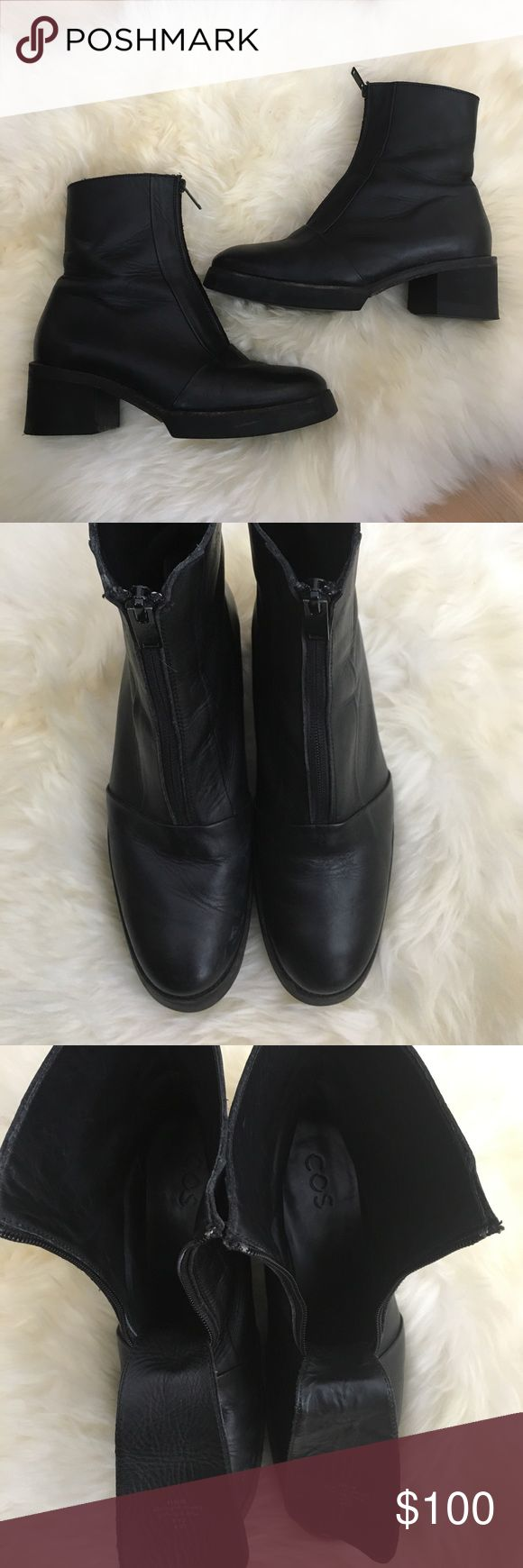 COS Leather Zip Up Moto Combat Boots Size 8 COS Leather Zip Up Moto Combat Boots Size 8. Made in Portugal. Black Leather. Excellent condition. COS Shoes Combat & Moto Boots
