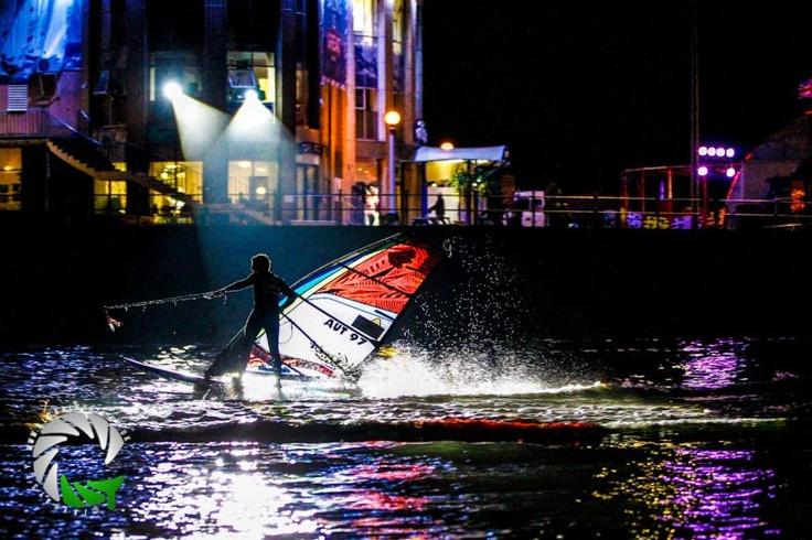 Floodlit freestyle windsurfing off Weymouth Beach ...
