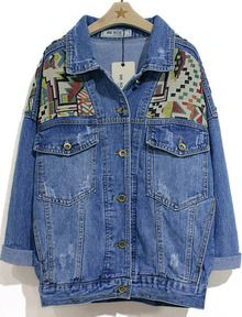 Blue Lapel Long Sleeve Geometric Pattern Denim Jacket $14 sell for £50!!!