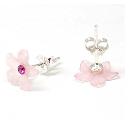 The Olivia Collection Sterling Silver Pink Crystal Flower Earrings