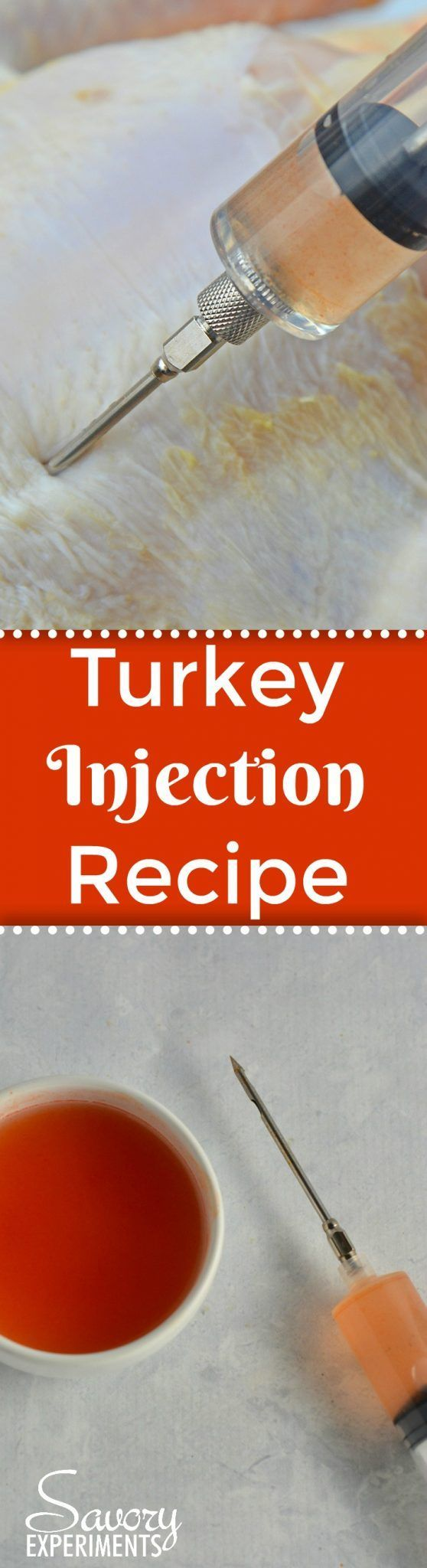 This Homemade Turkey Injection Recipe is super easy, taking only 5 minutes for a flavorful and slightly sweet bird just like the Cajun injector they sell at the store! #turkeyinjection #cajuninjector #turkeyrecipe www.savoryexperiments.com via @savorycooking