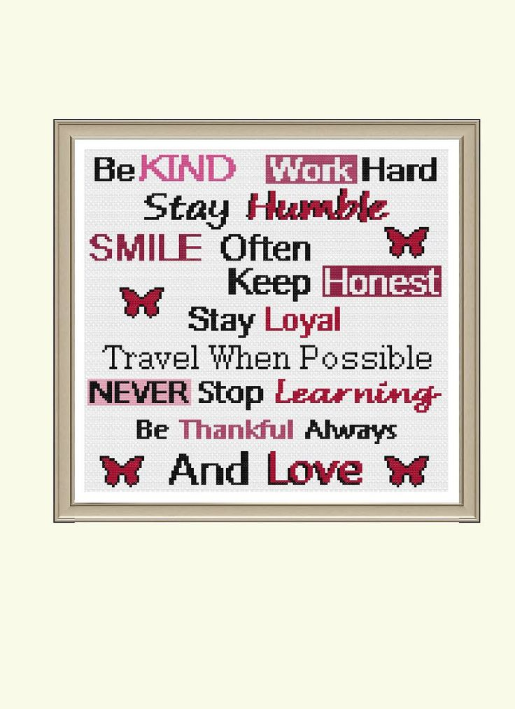Inspirational Quote - Be Kind (No Border) Cross Stitch Pattern by StitcherzStudio on Etsy