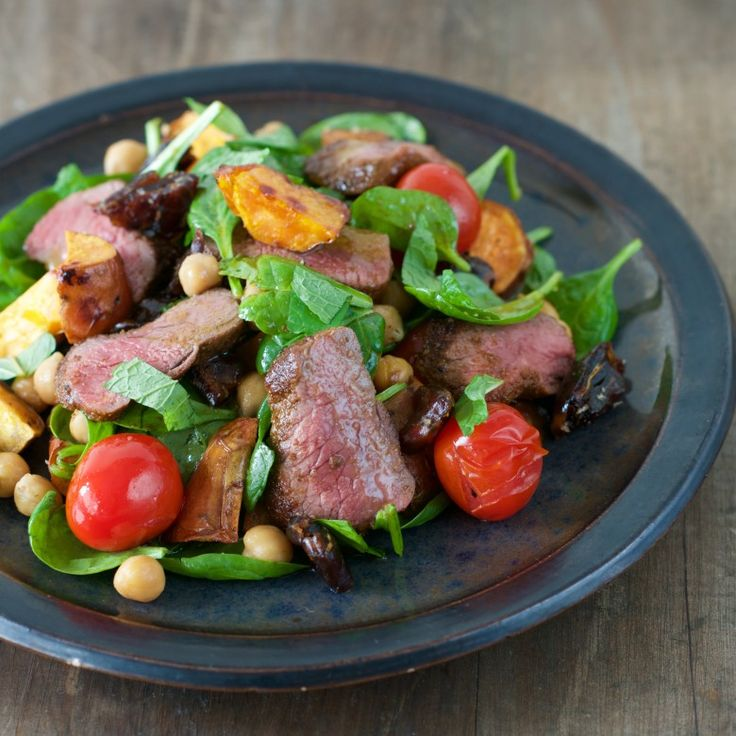 Turkish Lamb with Warm Kumara, Chickpea and Mint Salad