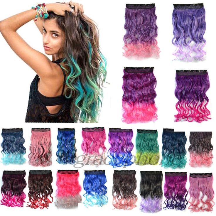 Ombre Gradient Hair Curly Long Hair Hairpieces Clip in Synthetic Hair Extensions #UnbrandedGeneric #HairFallHalfWig