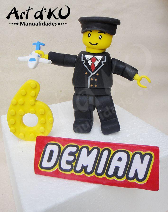 lego city cake topper,  lego piloto ,lego airpilot, lego cake topoper