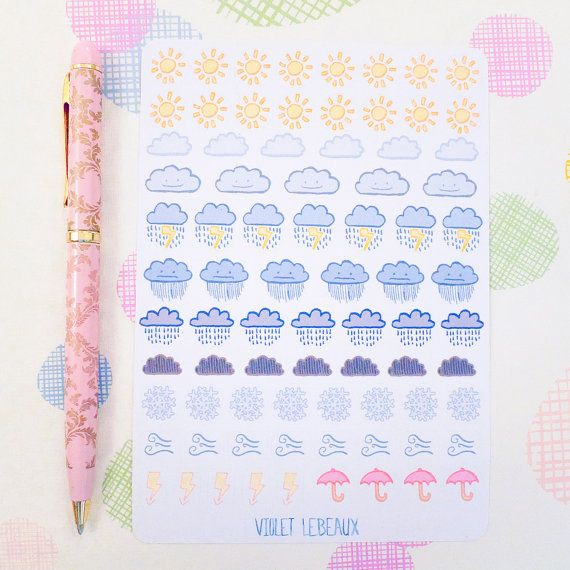 Weather Tracking GLOSS Sticker Sheet  For Kikki K by VioletLeBeaux