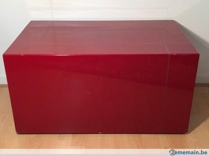 Table Basse Bloc Podium Socle Laque Rouge Chine Vintage 70s A
