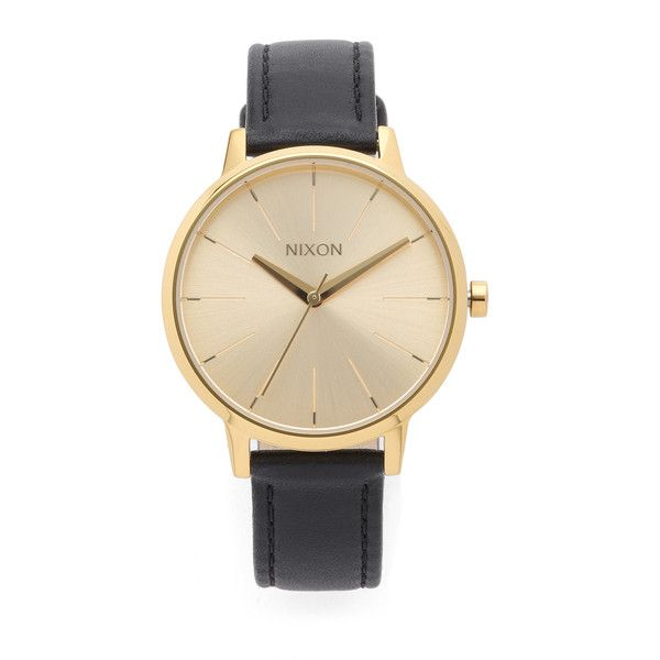 Nixon Kensington Leather Watch ($125) ❤ liked on Polyvore featuring jewelry, watches, leather band wrist watch, nixon watches, water resistant watches, nixon jewelry and nixon