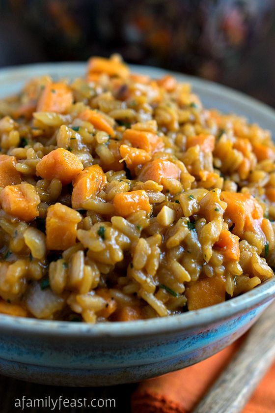Sweet Potato Risotto | www.afamilyfeast.com | #rice #Italian #comfortfood - Creamy and slightly sweet thanks to caramelized vegetables - this recipe is perfect served with a flavorful steak or other roasted meat!