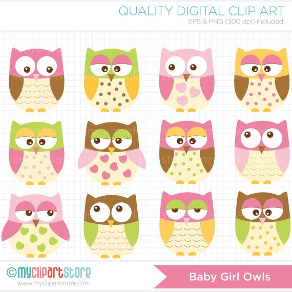 Owls for Girls Clip Art / Digital Clipart  by MyClipArtStore, $4.00