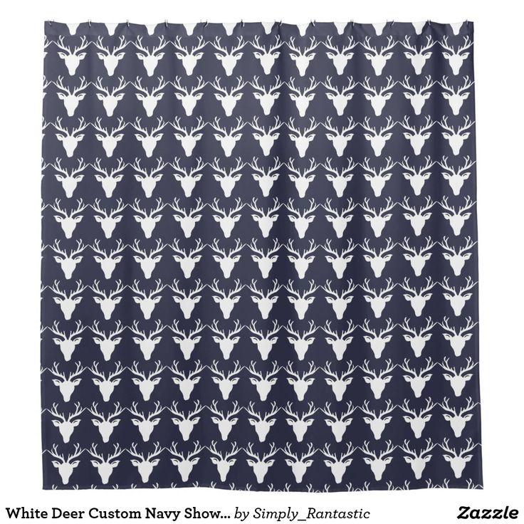 White Deer Custom Navy Shower Curtain
