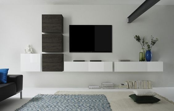 Ensemble TV mural contemporain suspendu LOUDEAC, coloris blanc brillant et wengé, Ensemble meuble