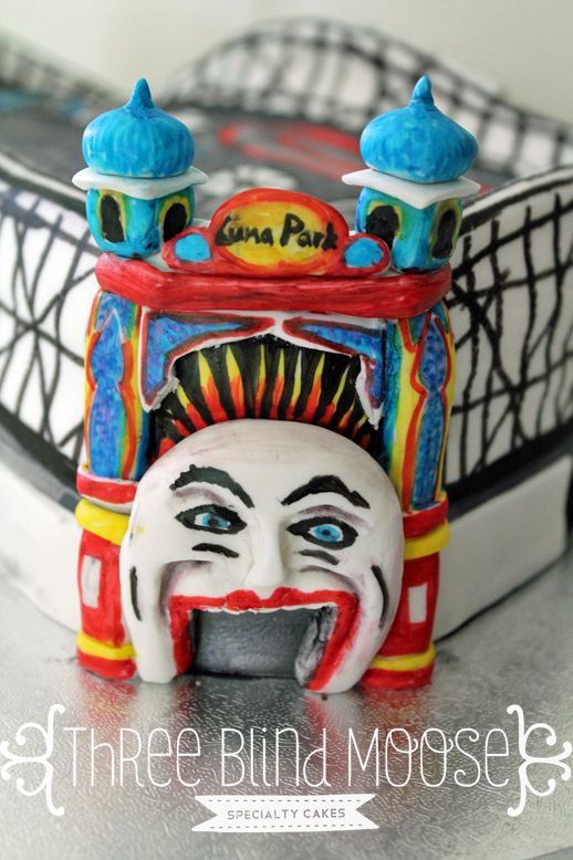 Luna park Melbourne cake. A close up of the face. By Three Blind Moose Specialty cakes, Korumburra