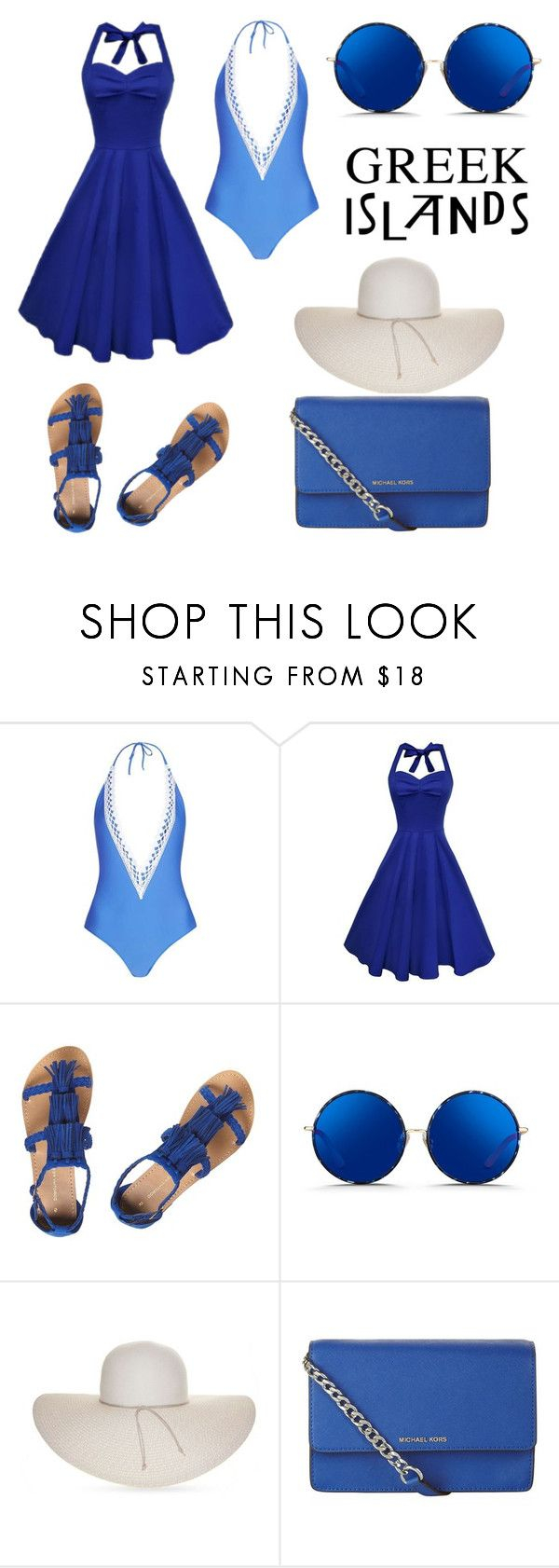 """Poseidon's Baby Blue"" by ferranong on Polyvore featuring Topshop, Dorothy Perkins, Matthew Williamson, Nine West and MICHAEL Michael Kors"