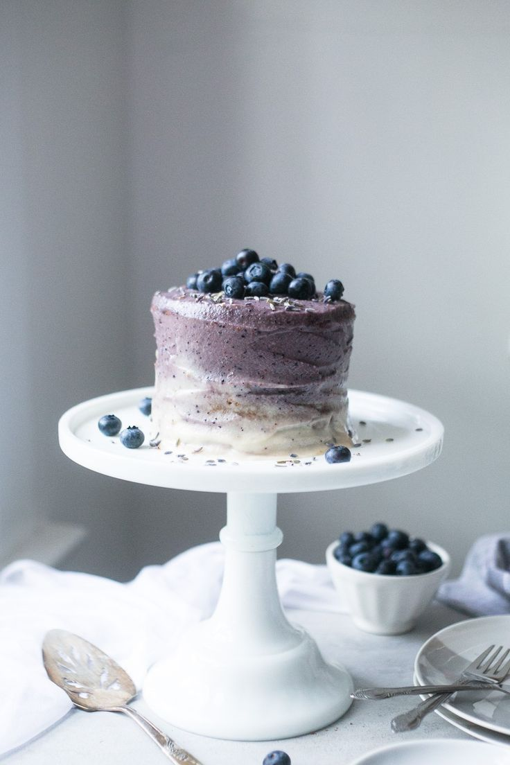 Vegan Vanilla Mini Cake w/ Blueberry Lavender Frosting + 1 year of blogging!