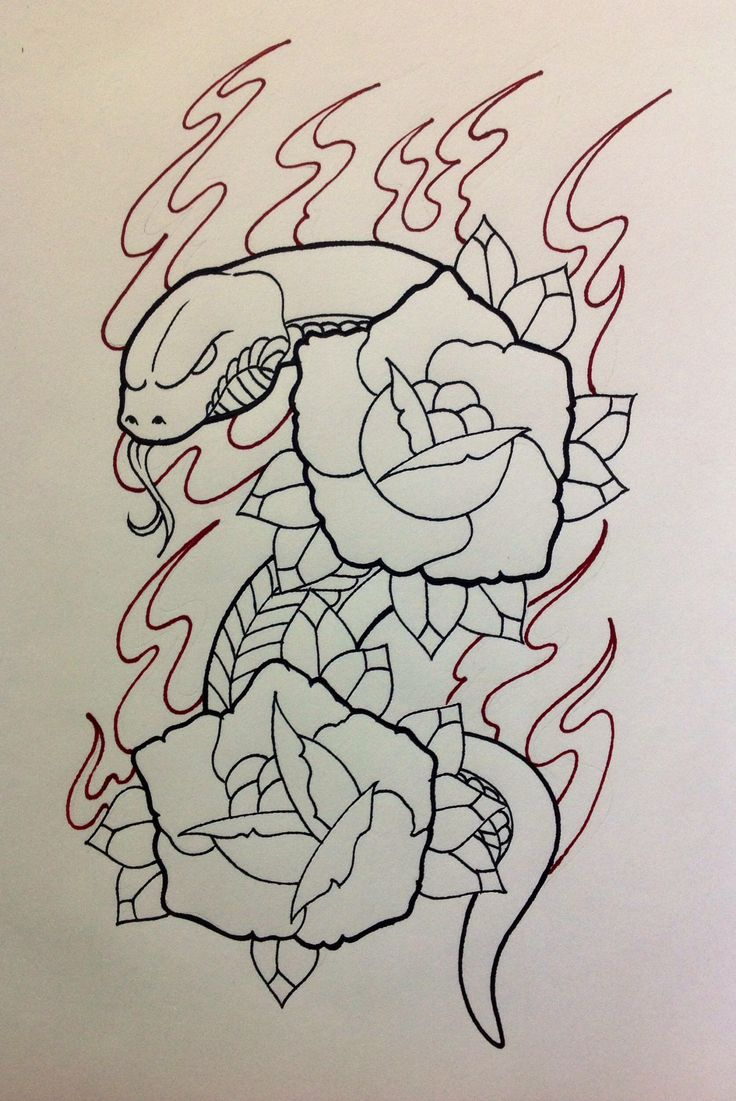 Oldschool snake & roses