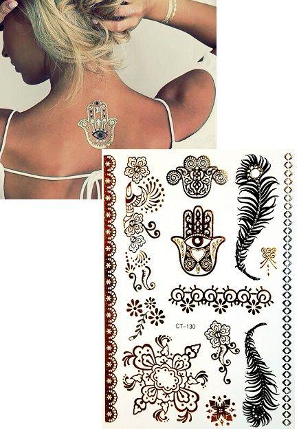 Arcra és testre is alkalmas fémhatású, tetoválás hatású test matrica. A készletben található különböző színű és mintájú sablonokkal kézügyesség nélkül is könnyedén készíthetsz alkalmi, exkluzív, különleges, ékszer jellegű tetoválást bármilyen alkalomra. Tökéletes testfestés helyett, díszítésnek, kiemeléshez, de akár nyaralásra is alkalmi sminkként, vagy testdíszítésként is fürdőruhához.
