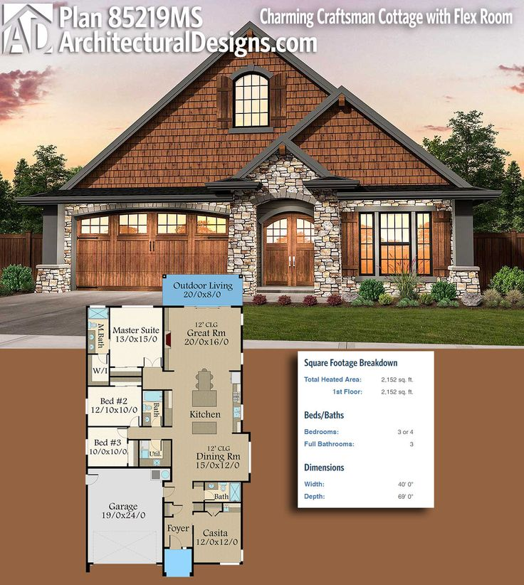 Architectural Designs Craftsman House Plan 85219MS gives