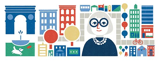 #googledoodle In honor of Urban theorist Jane Jacobs's 100th birthday today (May 3, 2016)
