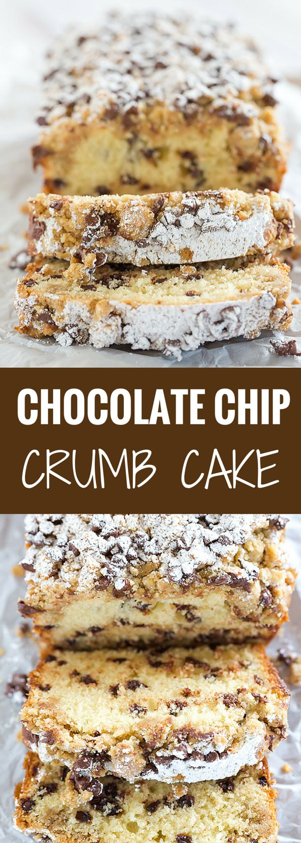 This chocolate chip crumb cake is unbelievably tender, loaded with chocolate chips and topped with the most amazing crumb topping!: