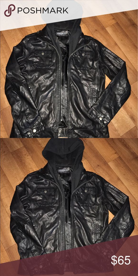 7 Diamonds Men's Leather Biker Motorcycle Jacket L Men's leather jacket with hood size large 7 Diamonds mark to inside label 🚫no trades🚫 Jackets & Coats