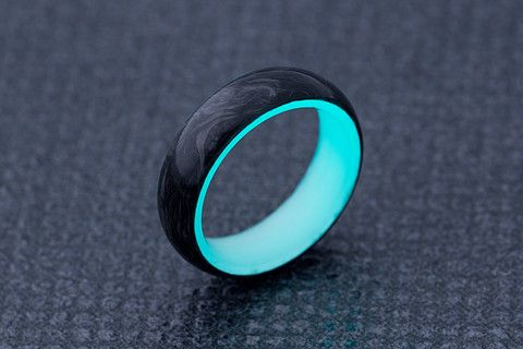 Radiant Turquoise Carbon Fiber Wedding Band for Engagement