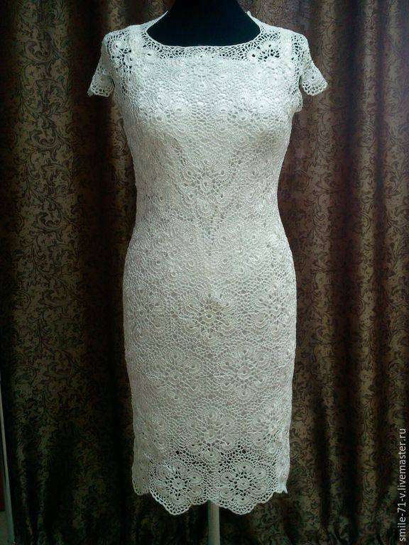 Купить Платье Белые цветы. - белый, однотонный, крючок, ручная работа, ажурный узор, мотивы