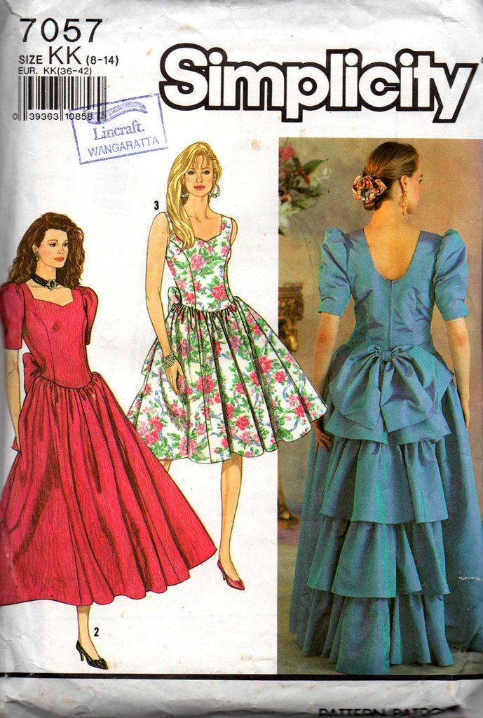 Simplicity 7057 Womens Evening Prom Bridesmaids Dress 1990s Vintage Sewing Pattern Size 8 14 Vintage Dress Patterns Skirt Patterns Sewing Dresses