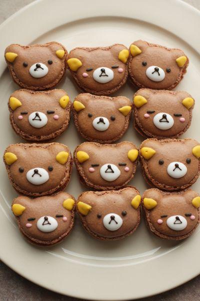 Wonderfully cute little teddy bear face macarons. #food #teddy #bear #kawaii #macarons #kids #dessert