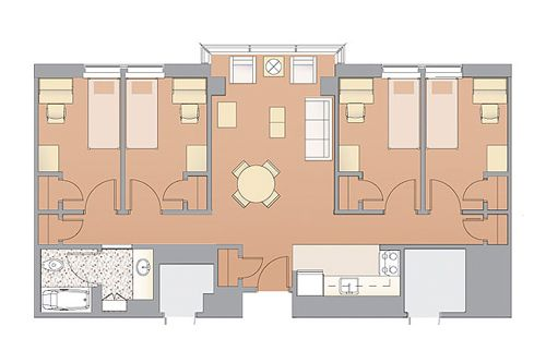 Typical apartment-style floor plan | hostel ideas