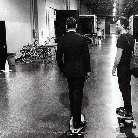 Patrick J. Adams and Gabriel Macht skateboarding on the set of Suits.
