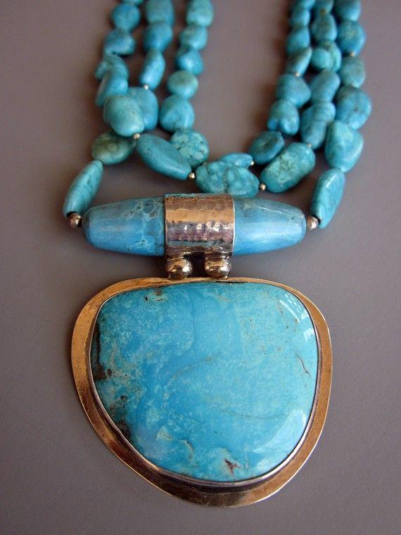 Collares collares de turquesa declaración doble por hogwildjewelry
