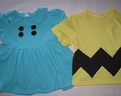 Charlie Brown shirt and Lucy Dress great for twins Halloween costume party theme dress