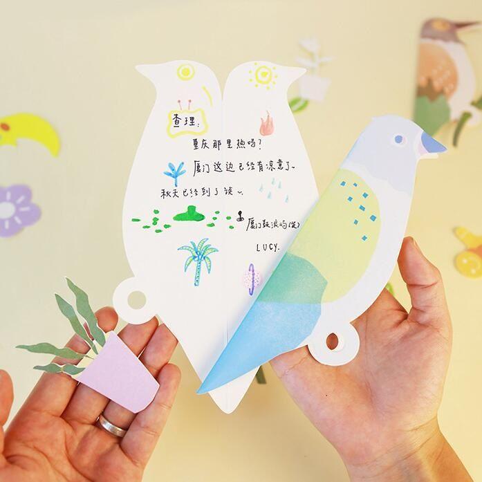 Kawaii Segar Burung desain Siswa DIY kartu ucapan Natal kartu berkat kartu ulang tahun perlengkapan Alat Tulis kantor sekolah