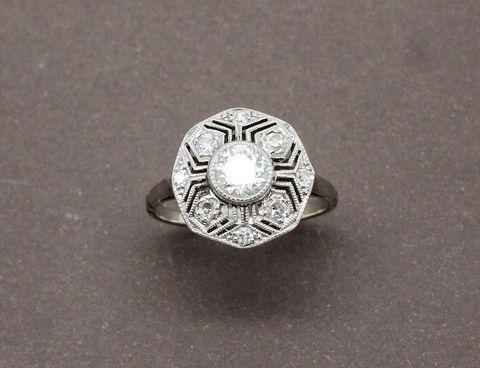 Bague Art Déco Diamants Or et Platine