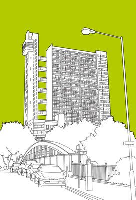 Trellick Tower by People Will Always Need Plates - print  they'll print diff colour backgrounds/dimensions etc....