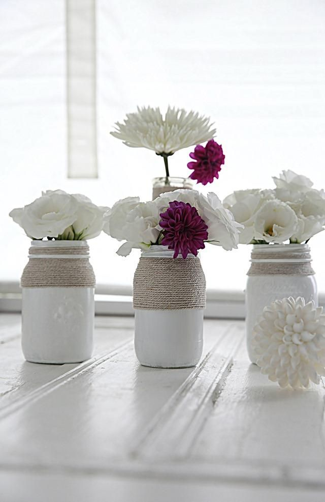 DIY Tutorial: Diy Mason Jars / Diy Paint Mason Jars Tutorial - Bead&Cord...painted pink with twine = bazaar decor: