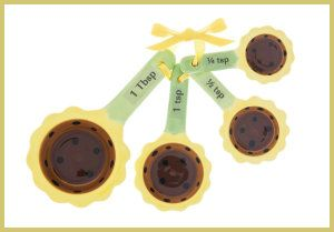 Ceramic Measuring Spoons by Ganz – 4 Piece Set – Sunflowers 4 Pc. set includes: 1 Tbsp, 1 tsp, 1/2 tsp, 1/4 tsp. Sunflower design. http://theceramicchefknives.com/ceramic-measuring-spoons/ Ceramic Measuring Spoons by Ganz – 4 Piece Set – Sunflowers