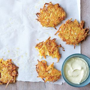 Fresh Summer Appetizers | Potato and Carrot Pancakes with Curry Sauce  | MyRecipes.com