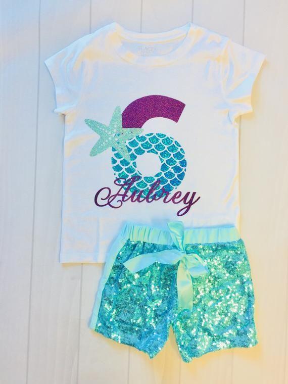 5ba45c9761c3 Girls Mermaid Shirt | Birthday Shirt | Birthday Outfit | Custom Name | Mermaid  Birthday