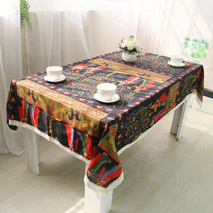 Folk-custom Bohemian Style Table Cloths Horse with Lace Rectangle Table Cover Cotton Linen Tablecloth for Kitchen Living Room #Affiliate