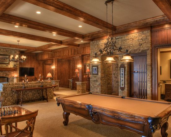 Game room french country home floor plans billiard table for House plans with game room