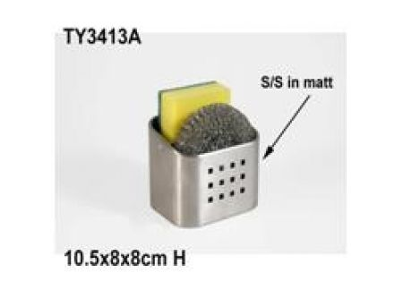 Keeps them out of the sink and dry. Howards Storage World   Stainless Steel Kitchen Caddy with Sponge and Scourer