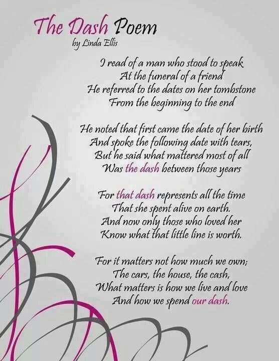 Poem for the deceased sayings dash poem inspiration life quotes